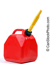 Red Gas Can With Yellow Flexible Spout, Isolated Over White
