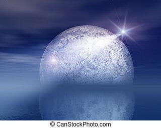 Night Shooting Star and Moon Over Sea