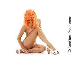 naranja, pelo, niña, Póster de mujeres...