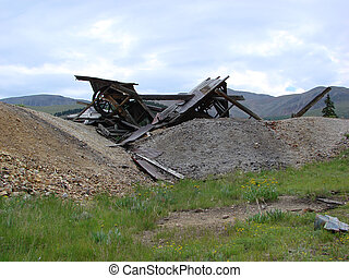 Collapsed Mine - The ruins of an abandoned collapsed mine in...