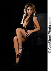 Low cut dress - Full body of a beautiful Hispanic brown hair...