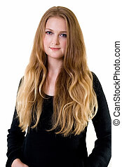 Long hair blond - Beautiful young woman with long blond hair...