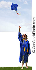 Graduation Hat Toss - a graduate tossing a hat into the air