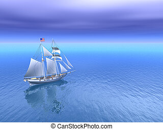 Sun and Open Sea with American Schooner