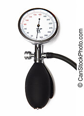 Sphygmomanometer on the white background
