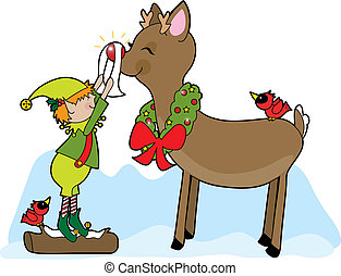 Elf and Rudolf - A little elf shining Rudolf the...