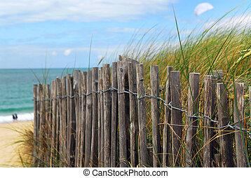 Beach fence - Old wooden fence on a beach in Brittany,...