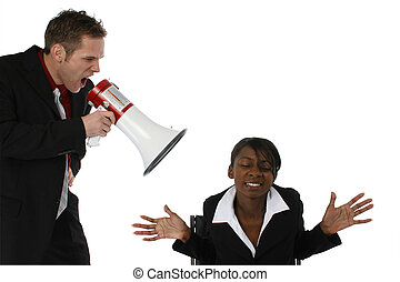 Boss Yelling - Boss yelling at employee thorugh megaphone...