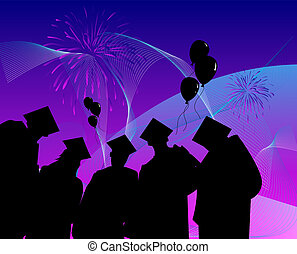 graduates celebrating - graduates standing in front of a...