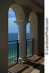 Ocean and Arches - A beautiful view of the ocean through an...