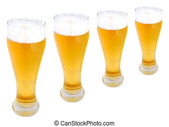 pints of beer in a row