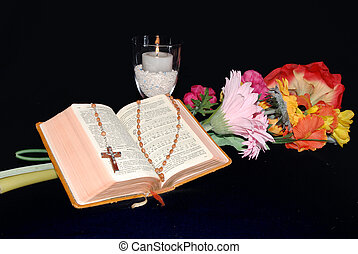 bible with candle and flower - religious objects, bible with...