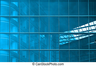 Blue structural glazing - Contemporary office building blue...