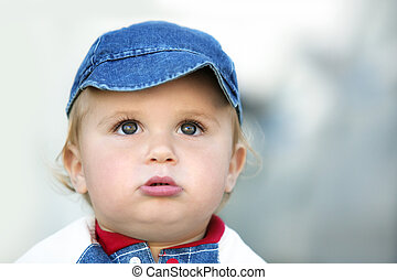 Cute baby boy - Cute happy 14 month old baby in a hat