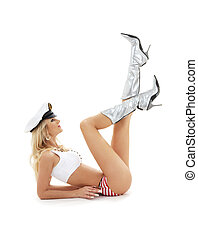 pin-up image of lovely blond in sailor cap - classical...