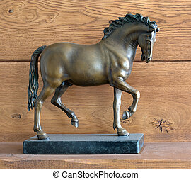 Bronze horse - Small bronze statue of a horse, wooden...