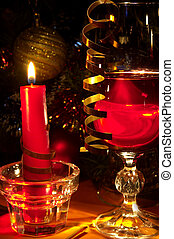 Christmas still-life Glass of red wine and candle
