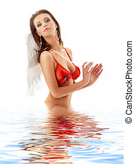girl in red lingerie with angel wings in water #2
