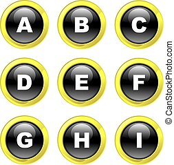 alphabet icons - set of alphabet icons on black glossy...