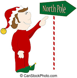 North pole - North Pole sign and elf graphic.