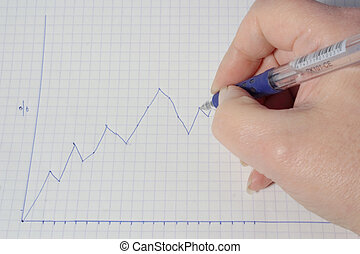 profit graph - hand marking in the profits and losses of a...