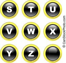 alphabet icons - set of alphabet icons on black glossy...