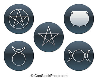 Pagan Buttons - five different pagan symbols