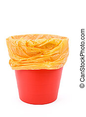 Red Garbage can with white background