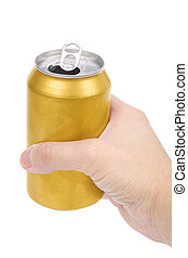 yellow beer can - a yellow beer can with white background