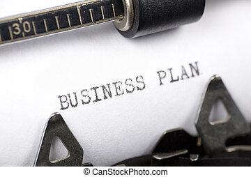 Business Plan - Typewriter close up shot, concept of...