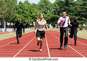 BUSINESS COMPETITION - business people running to win