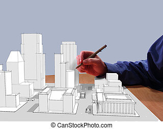 Tech Drafting - Architect drawing a city in 3d on his desk