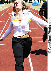 BUSINESS COMPETITION - business woman running to win