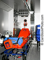 Ambulance vehicle - Inside view of ambulance vehicle with...