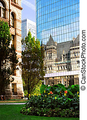 Toronto - Reflection of old Toronto city hall building in a...