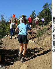 Trail Run - Morning foot race along a trail in the Rocky...
