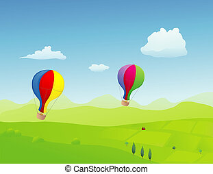 Ballons - A couple of old fashioned style ballons flying...