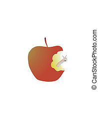 worm in an apple - An apple with a very happy worm in it
