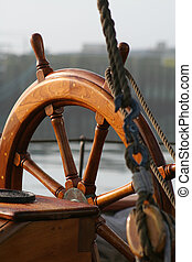 Old Helm - an old wooden helm of a tall ship