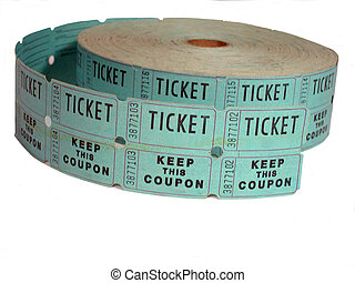 Raffle Ticket Roll - A roll of raffle tickets over white...