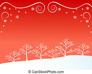 Forest in Winter - Silhouetted forest in winter vector...