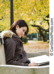Studying girl - A pretty college student studying on a bench...