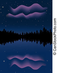 Northern Lights - Northern lights reflected in a lake in...