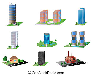 various buildings - various types of buildings, from an...