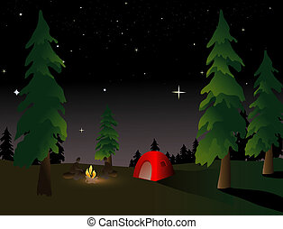 Camping at Night - Camping in the wilderness under a summer...