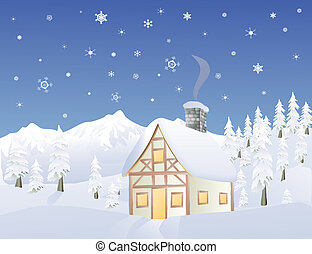 Alpine cabin in Winter - Alpine cabin in wintertime in a...