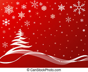 Christmas Tree Background - Red background with snowflakes...