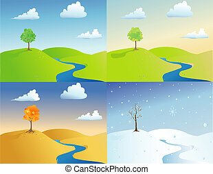 The Four Seasons - Vector based illustration depicting all...