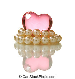 heart and pearls - pink heart and pearl necklace isolated...