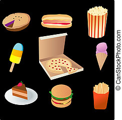 junk food - vector based illustration of various junk food